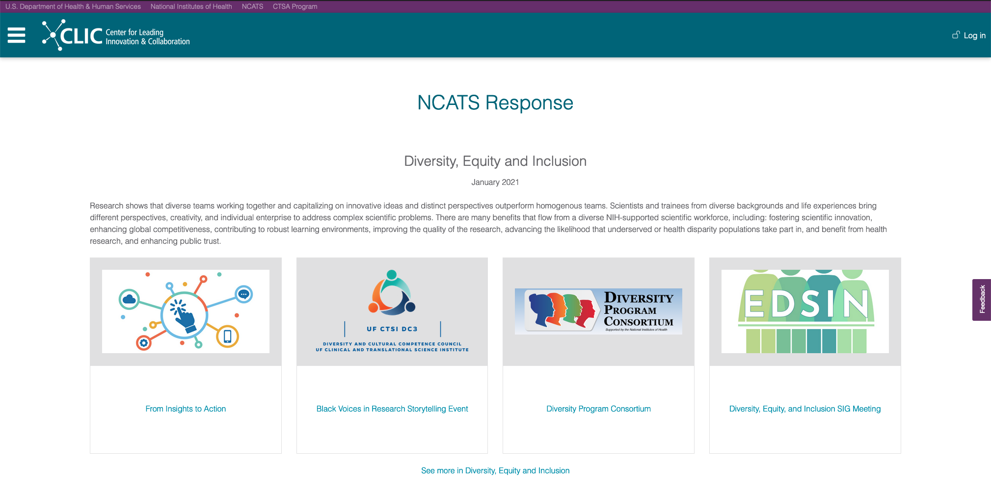 Screenshot of the NCATS Response page, showing the DEI section