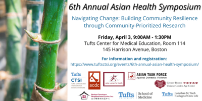 Photo of bamboo with summary information about Tufts CTSI's Asian Health Symposium on April 3, 2020.
