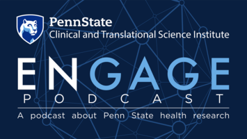 The Engage Podcast logo with Penn State shield on a blue background