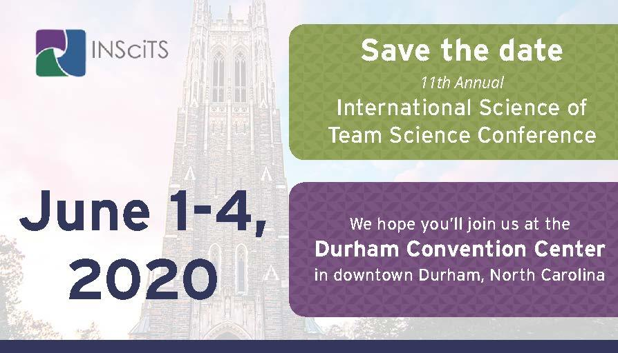 Save the Date SciTS 2020 June 1-4 2020