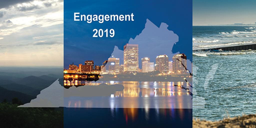 """Image of the state of Virginia over mountains, the Richmond skyline, and Virginia Beach with the words """"Engagement 2019"""""""