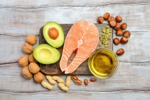 A plate of healthy fats-rich foods