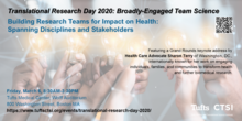 Tufts CTSI Translational Research Day 2020. Image of hands holding light bulbs. Event is Friday, March 6, 8:30AM-3:30PM at Tufts Medical Center, 800 Washington Street, Boston.