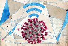 Illustration depicting use of network, cellular and other technology to improve surge ICU capacity. Illustration by Emma Vought